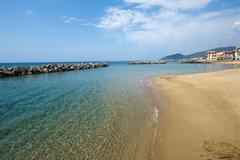 golden beach of santa maria di castellabate - stock photo