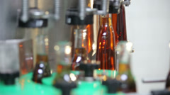 Stock Video Footage of the bottle of cognac moves on a conveyer