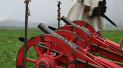 Russian guns XVII century. Reconstruction of the Korela Fortress, Russia Stock Footage