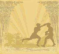 Muay thai (combat martial art from thailand) - kickboxing, grunge background Stock Illustration