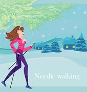 nordic walking - active woman exercising in winter - stock illustration