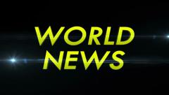 WORLD NEWS Text and Flares Fast, with Alpha Channel, Loop Stock Footage