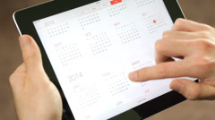Virtual Calendar Touch Screen ipad Table Stock Footage