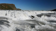 Stock Video Footage of Top part of the Gullfoss waterfall on a sunny day, Iceland