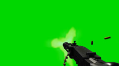 Machine gun fires - separated on green screen Stock Footage