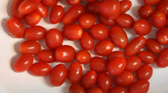 Mini Tomatoes Spill Hand Checked Stock Footage