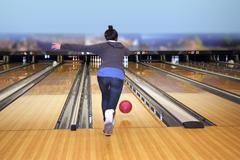 playing bowling - stock photo