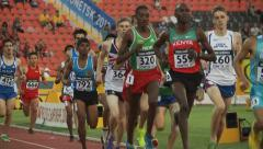 Athletes run at the stadium - stock footage