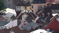 Roofs in Norway - Bryggen Stock Footage
