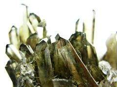 smoky quartz geode geological crystals - stock photo