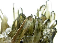 smoky quartz geode geological crystals - stock photo