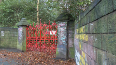 The Beatles - Strawberry Field Entrance & Graffiti Stock Footage