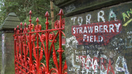 Stock Video Footage of Strawberry Field Gatepost