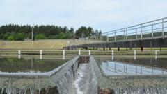 Primary sewage water clarification step in treatment facility Stock Footage