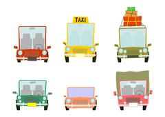 cartoon car set - stock illustration