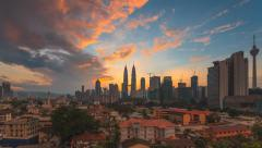 Timelapse of cityscape during blue hour to sunrise -Tilt - 1080p - stock footage