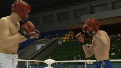 Kickboxers are fighting in the ring Stock Footage