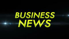 BUSINESS NEWS Text and Flares Fast, with Alpha Channel, Loop Stock Footage