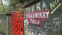 The Entrance to Strawberry Field in Liverpool Stock Footage