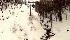 snowing ski elevator / Ski Lift, Italy - stock footage