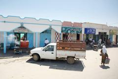 Shops and restaurans in bir al huffay Stock Photos