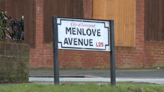 Menlove Avenue Street Sign - John Lennon's Childhood Home Stock Footage