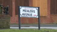 Stock Video Footage of Menlove Avenue Street Sign - John Lennon's Childhood Home