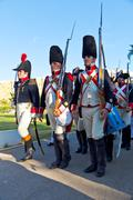 historical military reenacting - stock photo