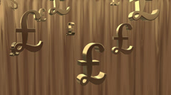 Gold background. Golden rain of currency symbols. Stock Footage