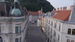 AERIAL: Old town Ljubljana Stock Footage