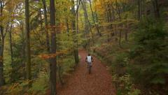 AERIAL: Biking in beautiful autumn forest Stock Footage