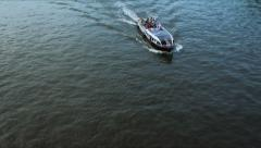 Boat on Moskva River  with passengers passing Stock Footage