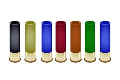 Set of Shotgun Shells on White Background - stock illustration