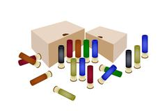 Stock Illustration of boxes of shotgun shells on white background