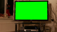 Stock Video Footage of LED TV with green chroma key at Christmas at night