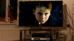 Boy trapped in television (tv addiction)# Stock Footage