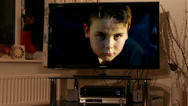 Stock Video Footage of Boy trapped in television (tv addiction)#