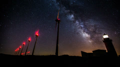 Wind turbines generating clean power with lighthouse on the milky way Stock Footage