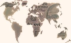 world map 5 rs banknote, concept - stock illustration
