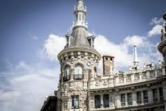 bank, image of the city of madrid, its characteristic architecture - stock photo