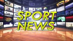 SPORT NEWS Text in Monitors Room, Loop Stock Footage