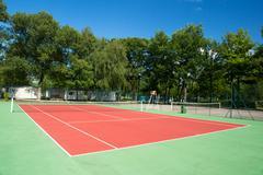 Outdoor tennis court Stock Photos