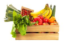 Wooden crate fresh vegetables and fruit Stock Photos