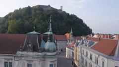 AERIAL: Over the rooftops of Ljubljana Stock Footage