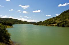 Dam on the river Alento - stock photo