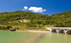 Dam on the river Alento Stock Photos