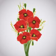 beautiful celebratory bouquet of red poppies - stock illustration