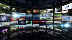 SPORT NEWS Text in Monitors Room, Loop Stock Footage