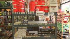Ammunition on a shelf Stock Footage