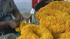 Making Garlands of Flowers p299 Stock Footage